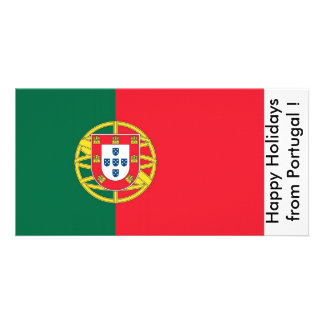 Flag of Portugal, Happy Holidays from Portugal Customized Photo Card