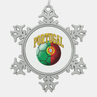 Flag of Portugal Soccer Ball Pewter Snowflake Decoration