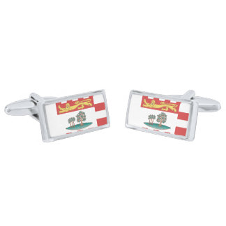 Flag of Prince Edward Island Cufflinks Silver Finish Cufflinks