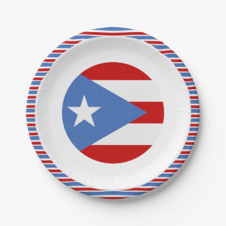 Flag of Puerto Rico Dessert 7 Inch Paper Plate