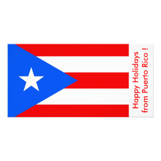 Flag of Puerto Rico, Happy Holidays from U.S.A. Photo Card