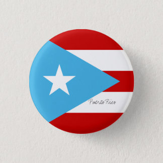 Flag of Puerto Rico Light Blue Red and White 3 Cm Round Badge