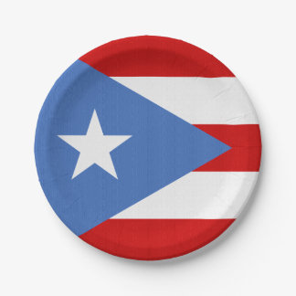 Flag of Puerto Rico Theme Paper Plate