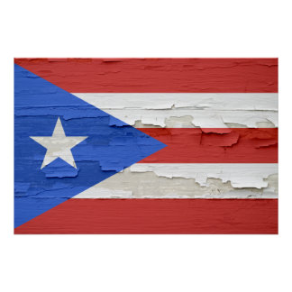 Flag of Puerto Rico Weathered Paint Poster