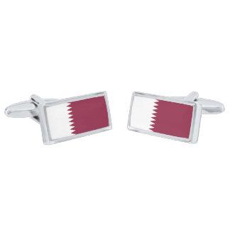 Flag of Qatar Cufflinks Silver Finish Cufflinks