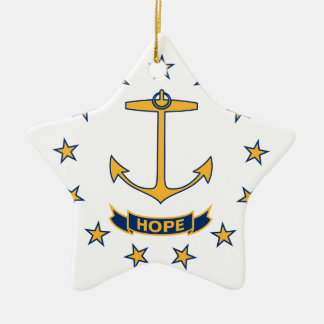 Flag Of Rhode Island Ceramic Ornament