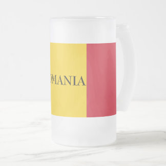 Flag of Romania Frosted Glass Beer Mug