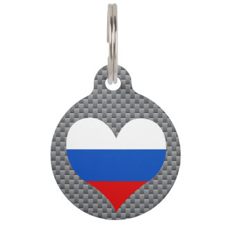 Flag of Russian on metal background Pet Tag