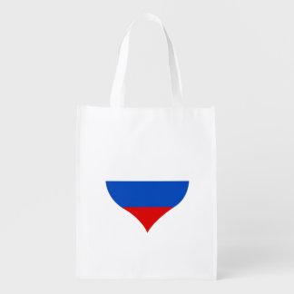 Flag of Russian on metal background Grocery Bag
