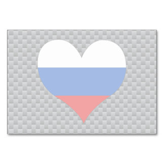 Flag of Russian on metal background Table Card