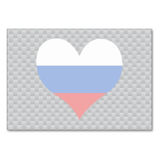 Flag of Russian on metal background Table Cards