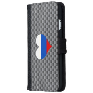 Flag of Russian on metal background iPhone 6 Wallet Case
