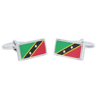 Flag of Saint Kitts and Nevis Cufflinks Silver Finish Cuff Links
