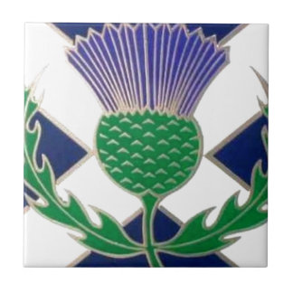Flag of Scotland and Thistle Ceramic Tile