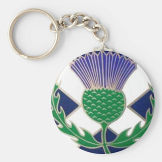 Flag of Scotland and Thistle Key Ring