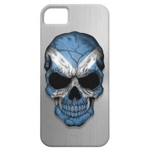 Flag of Scotland on a Steel Skull Graphic iPhone 5 Cases