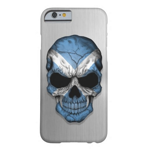 Flag of Scotland on a Steel Skull Graphic iPhone 6 Case