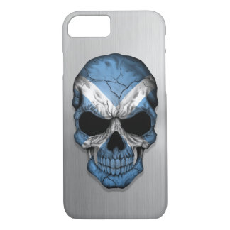 Flag of Scotland on a Steel Skull Graphic iPhone 7 Case
