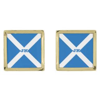 Flag of Scotland or Saltire Gold Finish Cufflinks