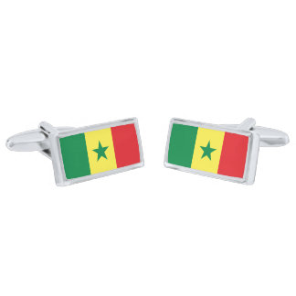 Flag of Senegal Cufflinks Silver Finish Cuff Links