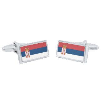 Flag of Serbia Cufflinks Silver Finish Cuff Links