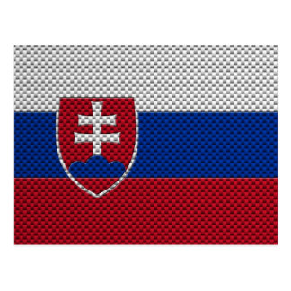 Flag of Slovakia with Carbon Fibre Effect Postcard