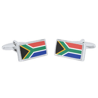 Flag of South Africa Cufflinks Silver Finish Cuff Links