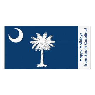 Flag of South Carolina, Happy Holidays from U.S.A. Customized Photo Card