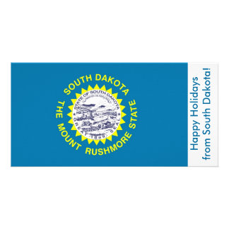 Flag of South Dakota, Happy Holidays from U.S.A. Customized Photo Card