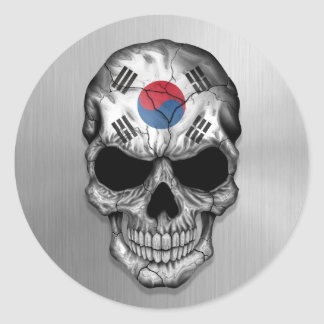 Flag of South Korea on a Steel Skull Graphic Classic Round Sticker