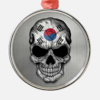 Flag of South Korea on a Steel Skull Graphic Christmas Ornaments