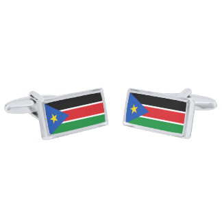 Flag of South Sudan Cufflinks Silver Finish Cuff Links