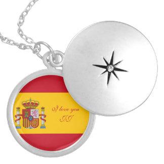 Flag of Spain - Bandera de Espana Silver Plated Necklace