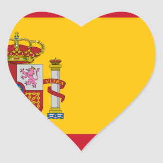 Flag of Spain - Bandera de España - Spanish Flag Heart Sticker