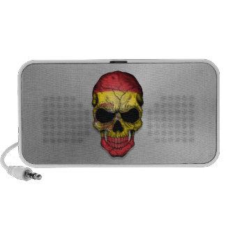 Flag of Spain on a Steel Skull Graphic iPhone Speaker