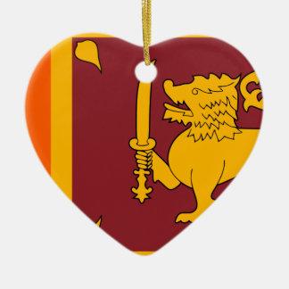 Flag of Sri Lanka (ශ්රී ලංකාවේ ජාතික කොඩිය) Ceramic Heart Decoration