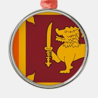 Flag of Sri Lanka (ශ්රී ලංකාවේ ජාතික කොඩිය) Silver-Colored Round Decoration