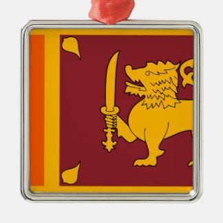 Flag of Sri Lanka (ශ්රී ලංකාවේ ජාතික කොඩිය) Silver-Colored Square Decoration