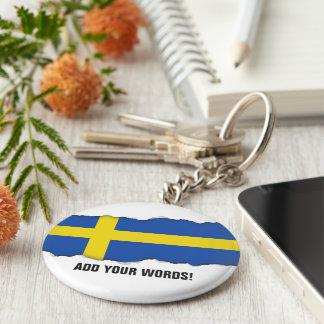 Flag of Sweden Basic Round Button Key Ring