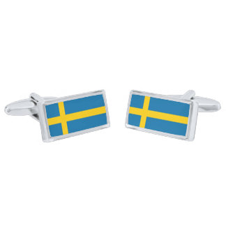 Flag of Sweden Cufflinks Silver Finish Cufflinks