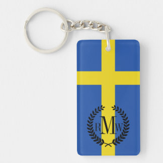 Flag of Sweden Double-Sided Rectangular Acrylic Key Ring