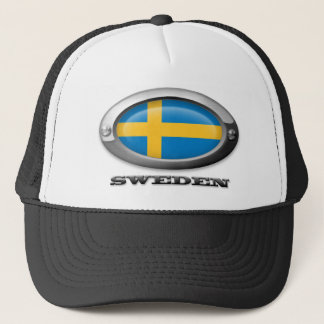 Flag of Sweden in Steel Frame Trucker Hat