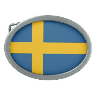 Flag of Sweden Oval Belt Buckle