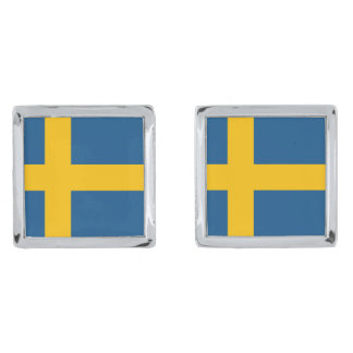 Flag of Sweden Silver Finish Cuff Links