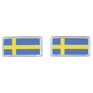 Flag of Sweden Silver Finish Cufflinks
