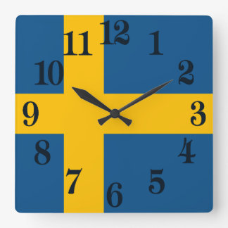 Flag of Sweden Square Wall Clock