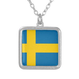 Flag of Sweden - Sveriges flagga - Swedish Flag Silver Plated Necklace