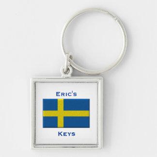 Flag of Sweden Swedish Custom Name Personalized Key Ring