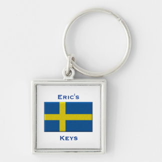 Flag of Sweden Swedish Custom Name Personalized Silver-Colored Square Key Ring