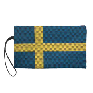 Flag of Sweden with Carbon Fiber Effect Wristlet Clutches